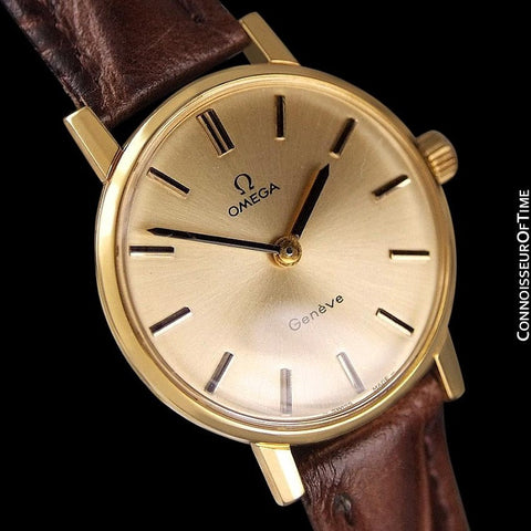 1977 Omega Geneve Vintage Ladies Watch - 18K Gold Plated & Stainless Steel