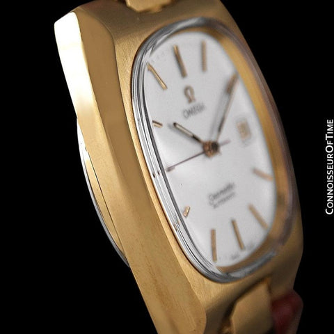1975 Omega Vintage Seamaster Mens Full Size Watch, Automatic, Date - 18K Gold Plated & Stainless Steel