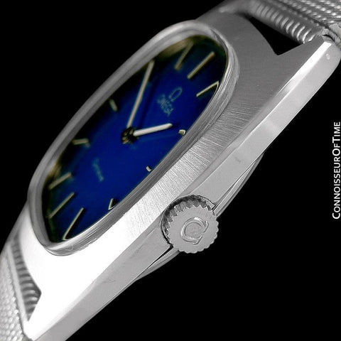 1974 Omega Geneve Vintage Retro Mens Handwound Ultra Slim Watch with Blue Vignette Dial - Stainless Steel