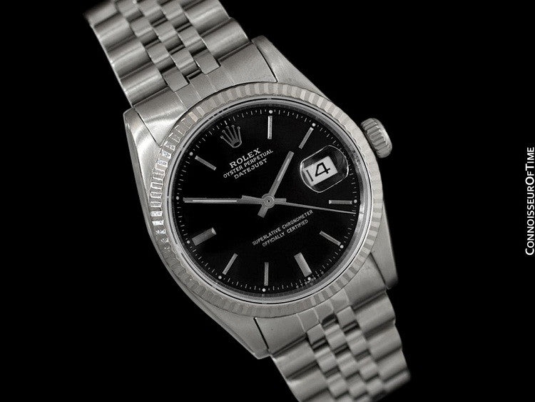 Rolex Mens Datejust Ref 1603 With Pie Pan Dial Stainless Steel 18k White Gold