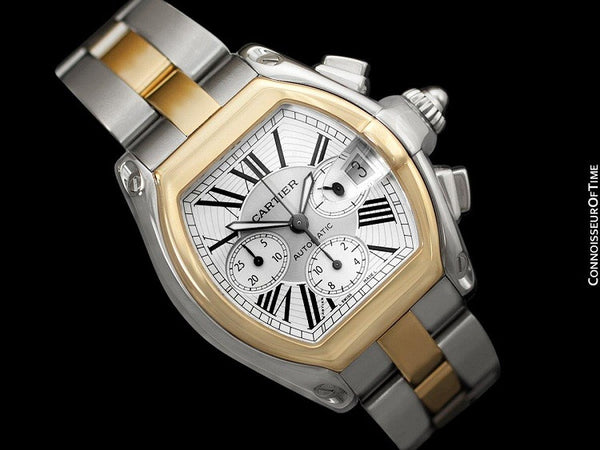 Cartier Roadster Mens Two-Tone XL Chronograph, W62027Z1 - Stainless Steel & 18K Gold