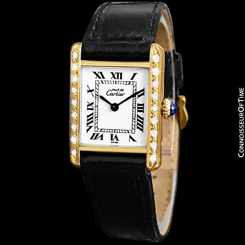 Cartier Vintage Ladies Tank Mechanical Watch - Gold Vermeil, 18K Gold over Sterling Silver & Diamonds
