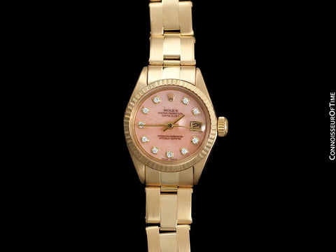 Rolex Ladies Datejust (President) Watch with Pink Strawberries & Cream Dial - 18K Gold & Diamonds