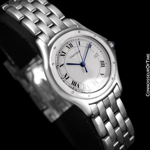 Cartier Cougar Panthere Mens Quartz Watch with Date - Stainless Steel
