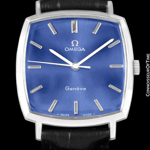 1971 Omega Geneve Vintage Mens Handwound Blue Dial Watch - Stainless Steel