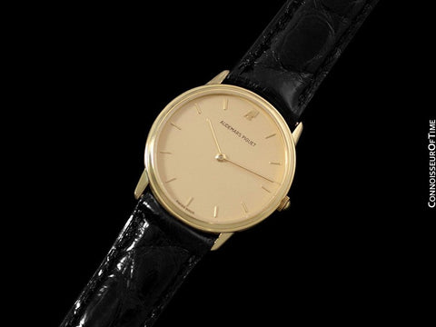 Audemars Piguet Round Midsize Mens Dress Watch - 18K Gold with AP Band & Buckle