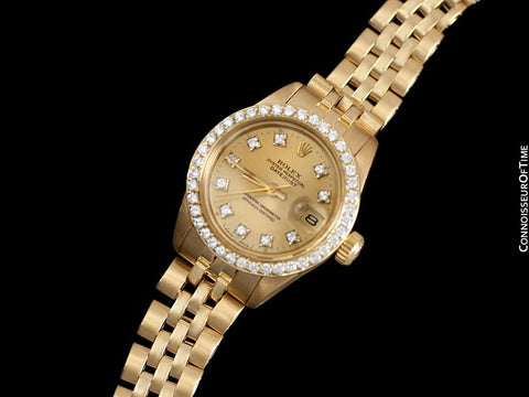 Rolex Ladies Datejust (President) Watch with Champagne Dial - 18K Gold & Diamonds