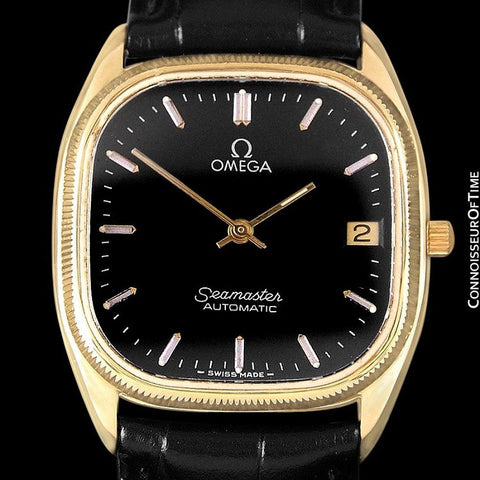 1985 Omega Vintage Seamaster Mens Watch, Ultra Thin Automatic, Date - 18K Gold Plated & Stainless Steel