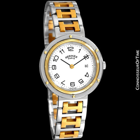Hermes Midsize Unisex Clipper 2-Tone Quartz Watch - Stainless Steel and 18K Gold Plated