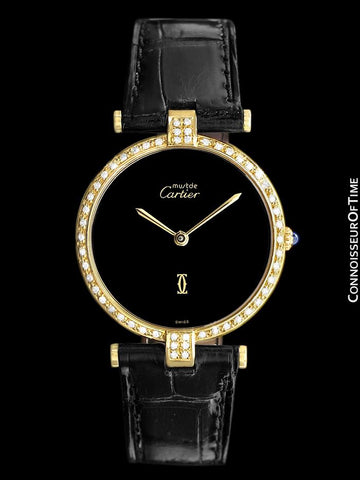 Must De Cartier Vendome Unisex / Full Size Ladies Vermeil Watch - 18K Gold Over Sterling Silver & Diamonds