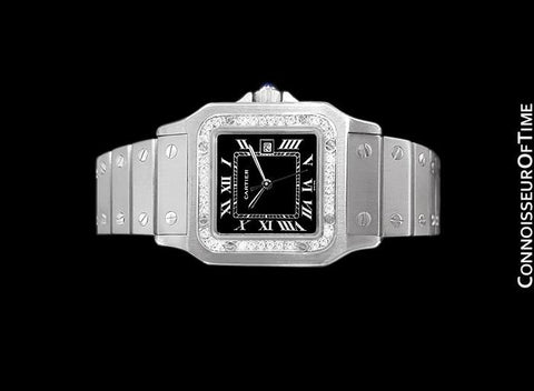 Cartier Santos Automatic Mens Bracelet Watch - Stainless Steel & Diamonds
