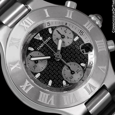 Cartier 21C Mens Chronoscaph Chronograph, Ref. 2424 - Stainless Steel
