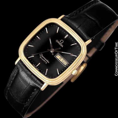 1984 Omega Seamaster Jubilee Midsize Vintage Mens Quartz Watch, Day Date - 18K Gold Plated & Stainless Steel