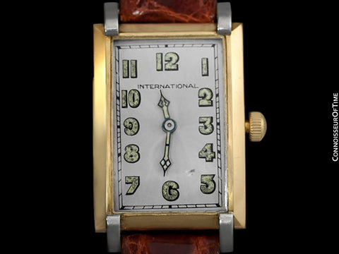 1929 IWC Vintage Art Deco Massive 43mm Mens Wristwatch - 18K Gold & Platinum