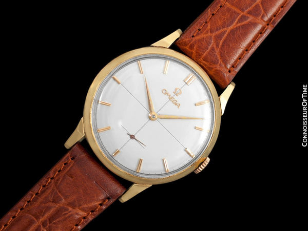 1960 Omega Vintage Mens 30T2 Based Dress Watch, Large 37mm Size - 18K Gold