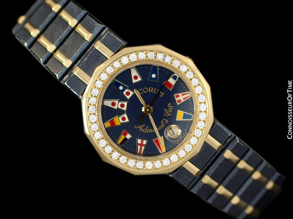 Corum Admirals Cup Ladies Nautical Watch - 18K Gold & Ceramic with Original Corum Diamonds