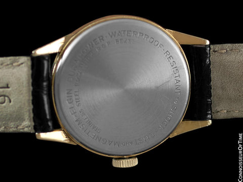 "1950's Elgin Direct Read ""Golf Ball "" Mens Midsize Digital Jump Hour Watch - 10K Gold Filled & Stainless Steel"