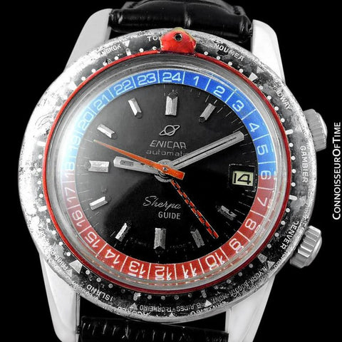 1969 Enicar Sherpa Guide GMT Pepsi Bezel World Time Mens Pilots Compressor Watch, Extra Large Size - Stainless Steel