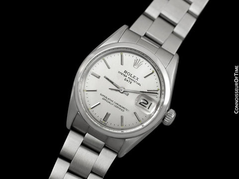 1972 Rolex Date (Datejust) Mens Watch with Monochrome Design - Stainless Steel
