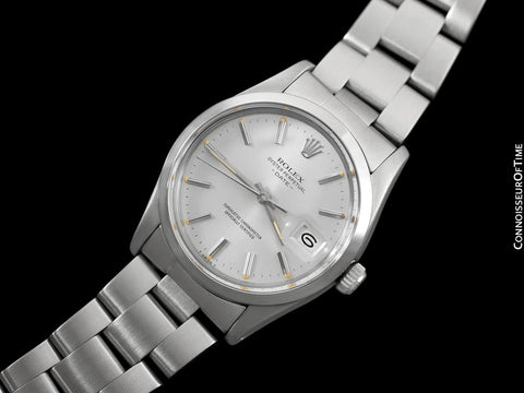 Rolex Date (Datejust) Mens Quick-Setting Watch with Silver Dial - Stainless Steel