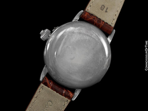 1914 Longines Caliber 13.33 Mens Single Button World War I Military Chronograph, Silver - Legendary Chronograph