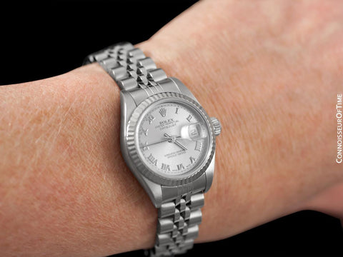 Rolex Ladies Datejust with Silver Dial, 79174, Stainless Steel & 18K White Gold - Boxes & Papers