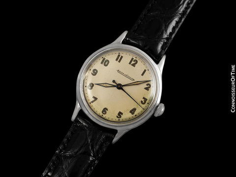1946 Jaeger LeCoultre Vintage Mens Watch, Waterproof, Military Style - Chrome & Stainless Steel