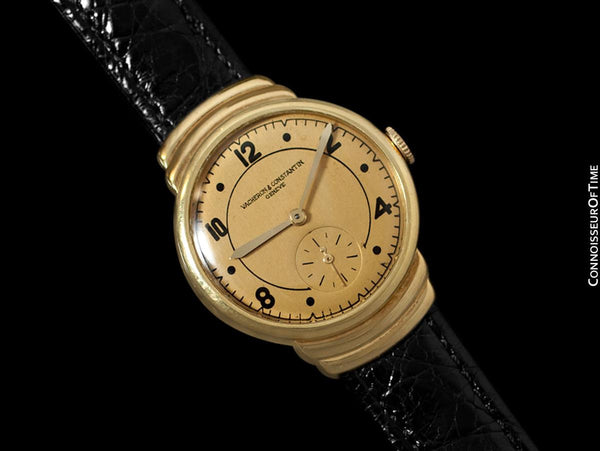 1930's Vacheron & Constantin Vintage Mens Midsize Art Deco Watch, 18K Gold - Hooded Lugs