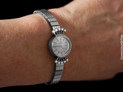 1956 Omega Vintage Ladies Cocktail Dress Watch - 14K White Gold & Diamonds