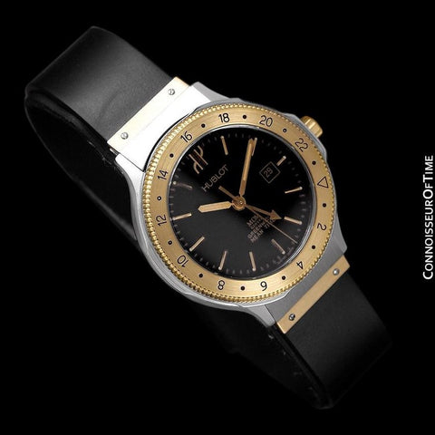 Hublot MDM Two-Tone Midsize Mens GMT Watch - Stainless Steel & 18K Gold