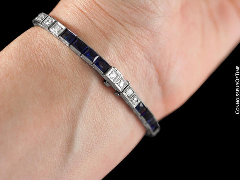 Stunning Art Deco Diamond, Sapphire, and Platinum Line Tennis Bracelet