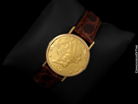 1960's Ulysse Nardin Vintage 1904 $20 Gold Double Eagle Coin Watch - 18K Gold