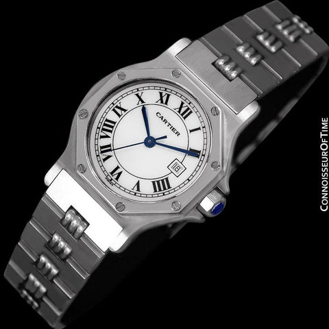 Cartier Santos Octagon Godron Mens Midsize Watch, Automatic - Stainless Steel