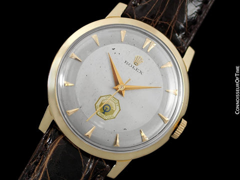 c. 1964 Rolex Vintage Mens Handwound Dress Watch, Optimists International - 14K Gold