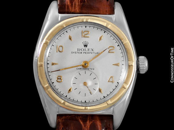 1948 Rolex Vintage Mens WWII Era Bubble Bubbleback, Ref. 5013 - Stainless Steel & 14K Gold