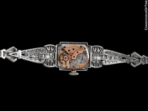 1950's Vintage Ladies Watch with Omega Movement - Platinum with 5 Carats of Diamond