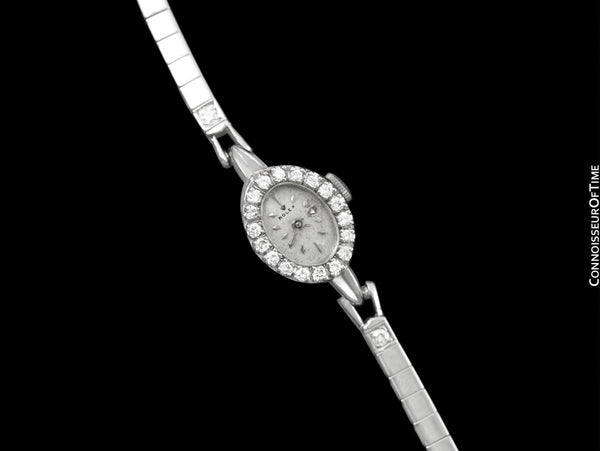 1960's Rolex Vintage Ladies Pre-Cellini Bracelet Cocktail Dress Watch - 14K White Gold & Diamonds
