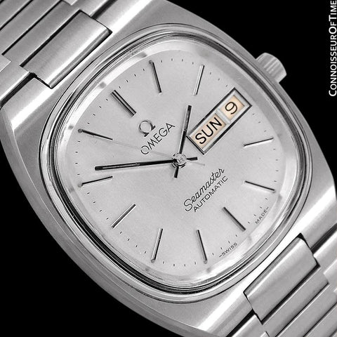 1983 Omega Seamaster Vintage Mens TV Watch, Automatic, Day Date - Stainless Steel