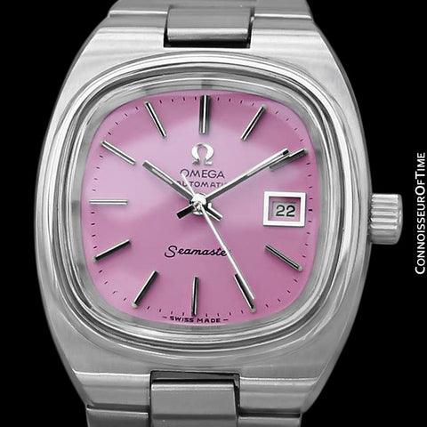 1970's Omega Seamaster Vintage Ladies Automatic Watch with Pink Dial - Stainless Steel