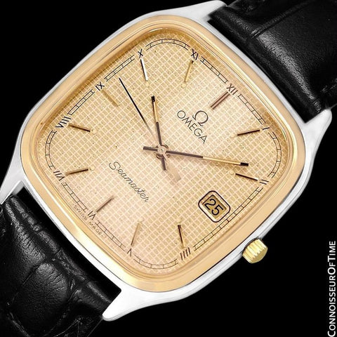 1985 Omega Seamaster Brest Vintage Mens Retro Quartz Watch - Stainless Steel & 18K Gold Plated