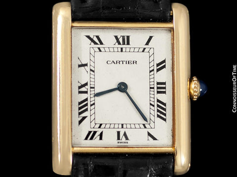 "1960's Cartier Vintage Mens ""Collection Privee"" Level Ultra Thin Tank Watch - Solid 18K Gold"