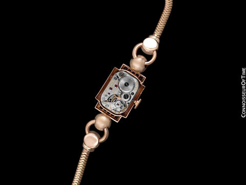 1940's Tiffany & Co. Ladies Vintage Watch - 14K Rose Gold with Rubies