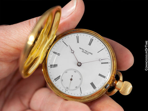 c. 1870 Patek Philippe Antique Mens Midsize 42.5mm Hunter Case Pocket Watch - 18K Gold