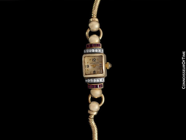 1940's Tiffany & Co. Ladies Vintage Watch - 14K Gold with Diamonds & Rubies