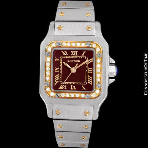 Cartier Santos Ladies Automatic Watch with Date with Red Wine Dial - Stainless Steel, 18K Gold and Diamonds