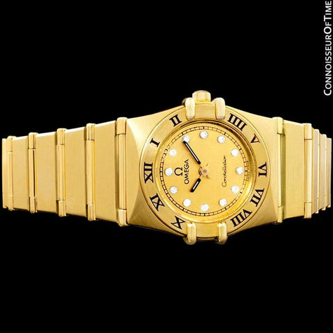 Omega Ladies Constellation Mini 22mm Watch - 18K Gold Plated with Diamonds