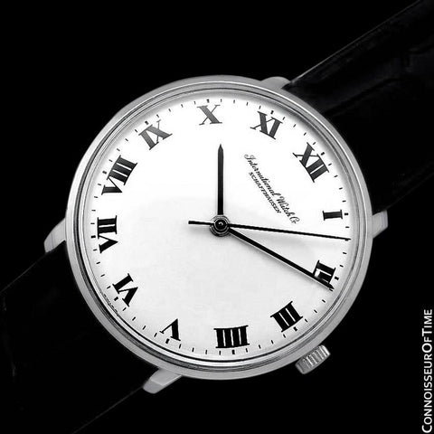1973 IWC Vintage Mens Dress Watch with White Roman Dial, Caliber 403 - Stainless Steel