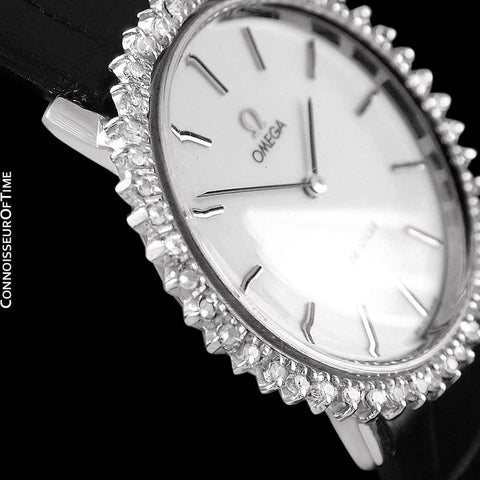 1970's Omega De Ville Vintage Mens (or Large Size Ladies) Handwound Watch - Stainless Steel & Diamonds