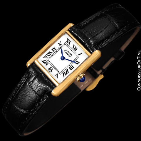 Cartier Vintage Ladies Tank Mechanical Watch - Gold Vermeil, 18K Gold over Sterling Silver