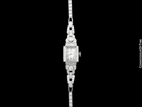 1950's Vintage Ladies Watch with Omega Movement - Platinum and 4 Carats of Diamonds